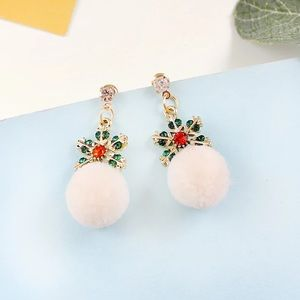 Christmas Crystal Snowflake Pom Pom Stud Earrings